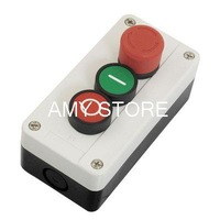 600V 10A Momentary 1NO Red Green Sign Flat Push Button 1NC Maintained Latching Red Emergency Stop Push Button Switch Station Box