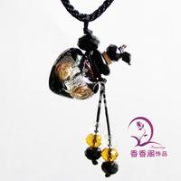 Colored glaze essential oil bottle pendant essential oil necklace handmade hollow bottle