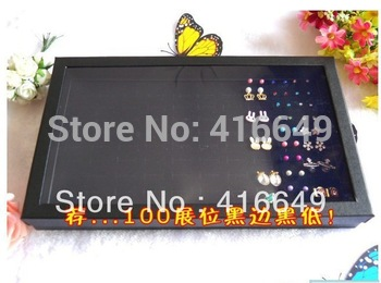 Free Shipping,Wholesale 2pcs/lot Black Jewelry Rings Display Show Case Organizer Tray Box 100 Slots
