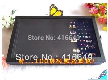 Free Shipping,Wholesale 2pcs/lot Black Jewelry Rings Display Show Case Organizer Tray Box 100 Slots