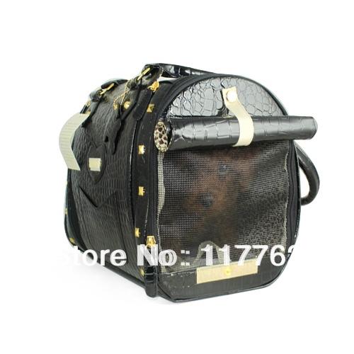 Free Ship New Arrival Magic Black Crocodile PVC Pet Dogs Carrier Bag Dogs Fashion Bag(China (Mainland))