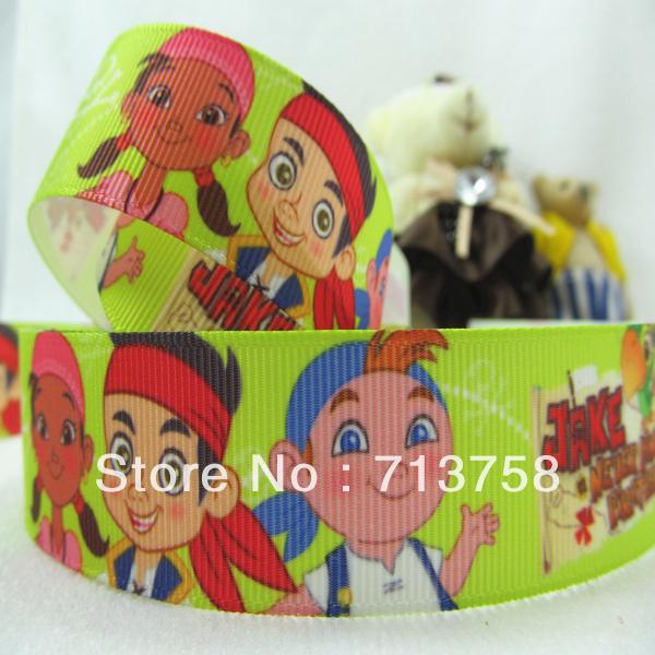 "free Shipping 1"" grosgrain printed ribbon Jake cartoon, headware, hair accessories, making bow(China (Mainland))"