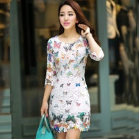 2013 Summer Embroidery Cutout Butterfly Lace Dress Women Fashion Short Sleeve Elegant Lace Flower Print Dresses