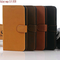 Newest Luxury Flip Wallet Leather Case with Card Slot for Samsung Galaxy Mega 5.8 I9150 Free Shipping  Wholesale