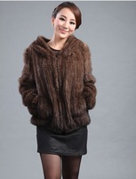 2012 mink fur knitted outerwear long-sleeve with a hood fashion fur coat