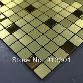stainless steel tile sheets 4/5 in. aluminum brushed metal mosaic tile backsplash kitchen wholesale tiles design art deco mesh