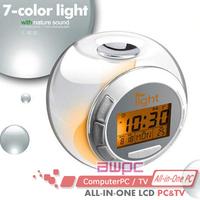 7 Color Crystal Digital LED Thermometer Calendar with Six Natural sound Desktop Alarm Clock Gift