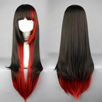 Women Charming Fashion 70cm Long Straight Black Mixed Red Synthetic Hair Cosplay Wig