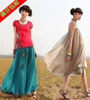 2013 New Women Chiffon Pleated Retro Long Maxi Full Skirt Elastic WaistBand  Long Maxi Full Skirt + Peacock feathers