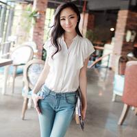 women Blouses Cool chiffon shirt female summer short-sleeve personalized white shirt sweet ruffle shirt