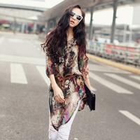 women Blouses 2013 women's medium-long chiffon shirt three quarter sleeve slim personalized doodle print