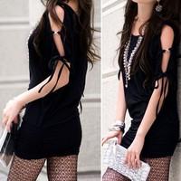 2013 spring plus size women loose bandage strapless slim hip dress sleeveless one-piece dress black