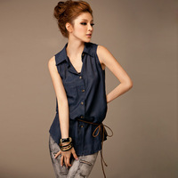 2013 spring and summer shirt female all-match ol slim sleeveless cardigan knitted rope vest turn-down collar shirt