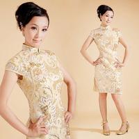 Vintage placketing gold bride cheongsam short design paillette lace evening dress red married