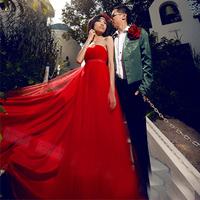 Red tube top bridal princess wedding dress formal dress long design