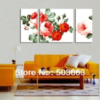 Fashion Elegant Flower Wholesale 3 Pcs Hand-painted Wood Wall Art Lilies Home Decoration Landscape Oil Painting On Canvas H-037