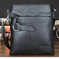 Free shipping 2013   new style100% Real Cow Genuine Leather   messenger   male bag classic embossed plaid  bussiness bag