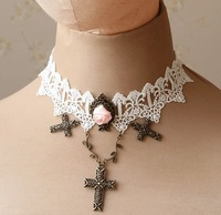 Free shipping cross metal Lace shiny necklace clothes decoration necklace fashion jewelry girls gift