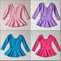 Cotton long-sleeve dance skirt child leotard openable-crotch