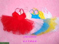 Child dance clothes leotard spaghetti strap ballet tulle dress summer Latin dancing clothing