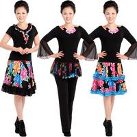 Square dance clothes summer dance clothes set Latin dance top short-sleeve short culottes