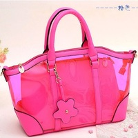 New arrival transparent bag crystal beach bag candy color messenger bag jelly picture package plastic bag