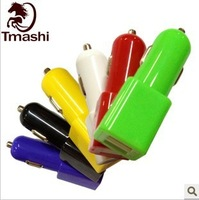 1pc free shipping for colorful Dual 2 USB Port Car Charger for iPhone 5 5G iPad iPod Touch with high quality