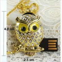 Crystal Metal owl Model USB 2.0 Flash Memory Stick Pen Drive 2GB 4GB 8GB 16GB 32GB 64GB