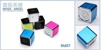 20pcs/lot High Quality Portable Music Angel MD07U USB TF card Portable Mini Digital Speaker Color Freeshipping