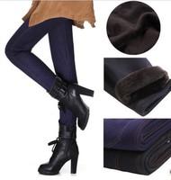 2014 New Winter Thicken Velvet Fleecews Leggings For Women Warm Pants Imitate Jeans Denim Leggings L/XL/XXLBiack/Blue