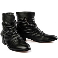 Free shipping high upper pointed toe korean fashion Martin Boots black Men's boots England chain motorcycle boots B1111