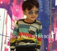 Wholesale 2013 Fashion Boy's T Shirts children clothes baby Shirt boy girl Stripe long sleeve t -shirt .5pcs/lot kids wear