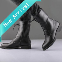 Size38-43 fashion men's boots pointed toe high upper rivets motorcycle boots black Martin Boots korean man's leather shoes B1115