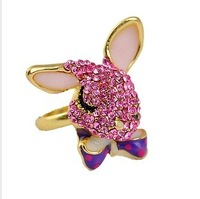 Hot sale Fashion rings Lovely Rhinestone Crystal Rabbit Design Ring For Young B wholesale vintage retro