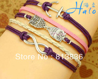 Free Shipping 6pcs/lot Fashion Chistmas Anchor Infinit Owl Bracelet B00944