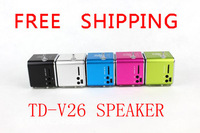 Hot sale TD-V26 Portable USB TF Card Radio Mini Digital Speaker high pure sound Multi-colours 600pcs DHL Free Shipping