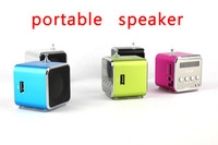 DHL,*120pcs* TD-V26 Portable Mini Digital Speaker for MP3 MP4 PC,Support Radio, USB, TF/SD Card,Free Shipping,Wholesale