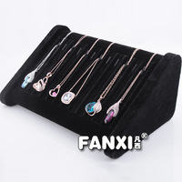 Free Shipping Black Velvet Unique Necklace Display Stand Chain Holder 12 Slots