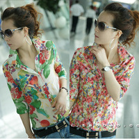 Free Shipping Women Sexy chiffon Yarn halter flower printting perspective lapel shirts/Blouse