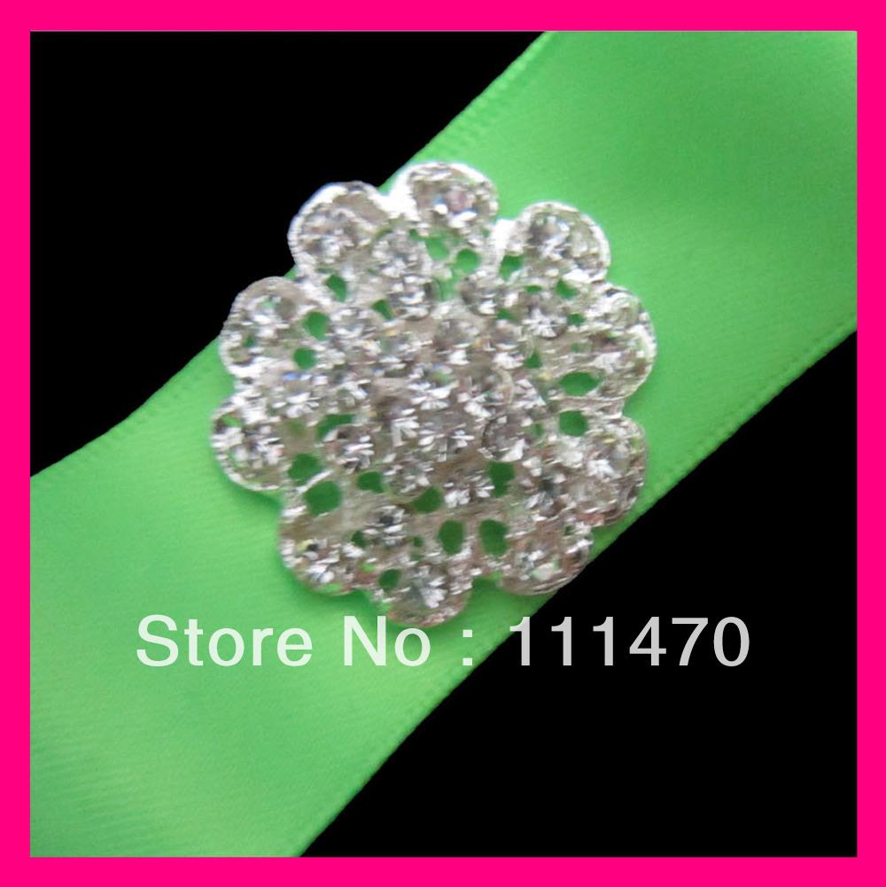 Wholesale 100pcs 30mm Sparkle Flower Silver Rhinestone