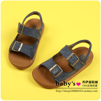 Fashion metal buckle casual male child cowhide leather sandals child sandals children shoes