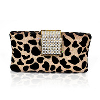 Fashion fashion clutch leopard clutch bag diamond evening bag personality women banquet gold chain bag