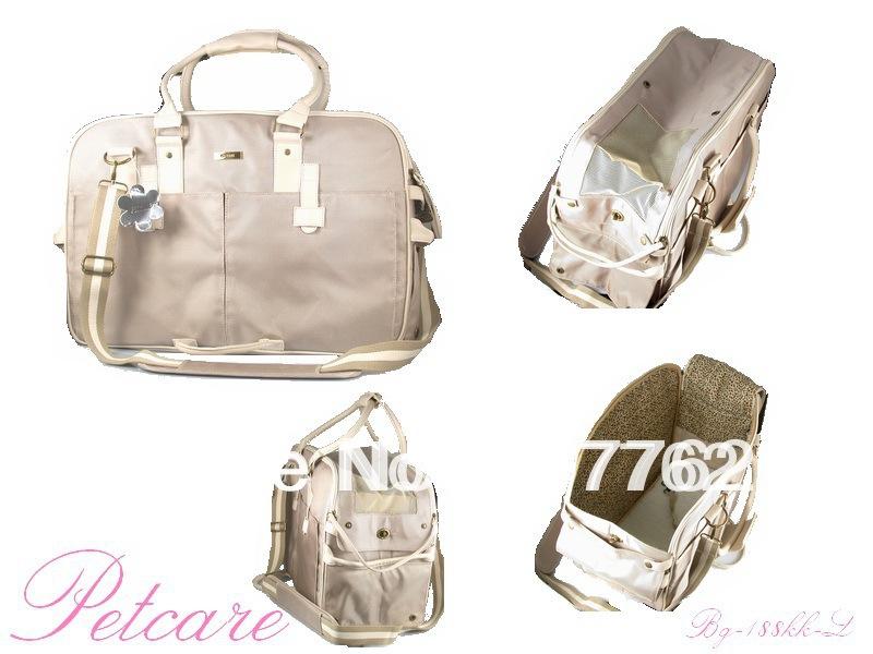 Free Ship Light khaki double-strand nylon 1680D with Cotton Ribbon Pet Dogs Carrier Bag Dogs Fashion Bag(China (Mainland))