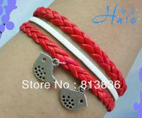 Free Shipping 6pcs/lot 2013 Fashion Leather Wrap Red Cord Bracelets for Women B00949