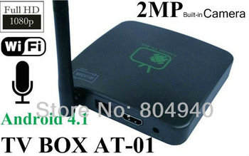 DHL FreeShipping New Android 4.1  MINI PC Network TV BOX Built-in Camera+Mic+Wifi Player 1080P Full HD AT-01
