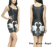 Wholesale + Free Shipping! New! 2013 New Women's Digital Printing Dress White Swan supernova sale Package Hip Vest Skirt S117-62
