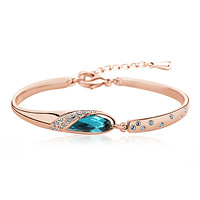 Rhodium plated fashion bangle with Swarovski Elements 50007