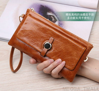 New fashion wallet 100% quality Oil wax skin Storage Wallets ladies purse genuine leather clutch phone holder