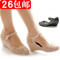 Summer cutout bird's-nest jelly sandals elevator beach women's wedges shoes rain boots hole shoes network