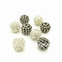 20mm 10pcs Fashion Gunmetal/Silver Plated Copper Disco Ball Rhinestone Beads for DIY Jewelry Fittings Free Shipping HB837